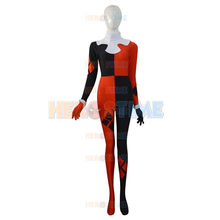 High Quality Super Villain Harley Quinn Adult /Children Womens Costumes Halloween Lady Cosplay Costume Spandex Lycra Zentai Suit(China)