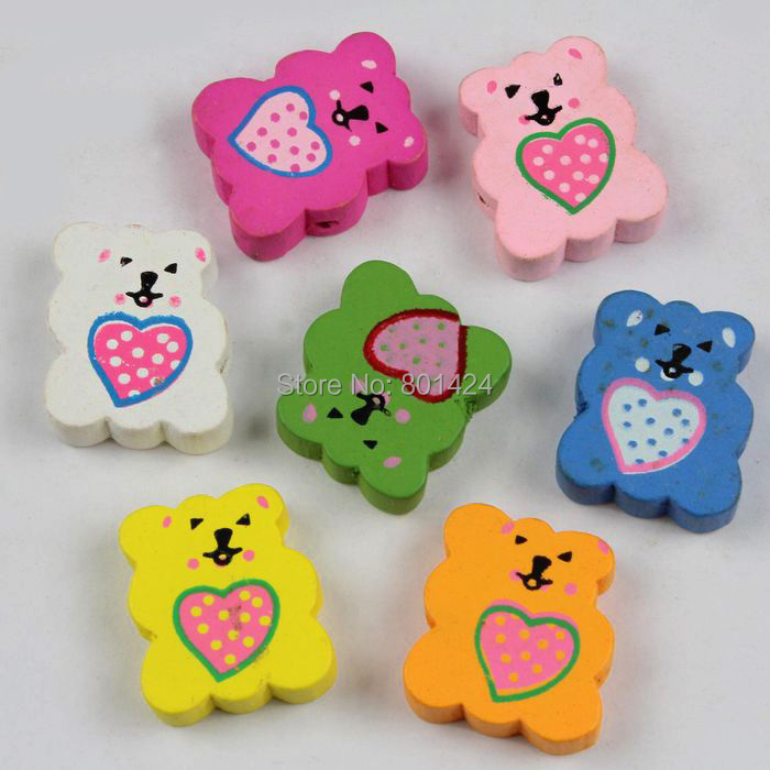 12pcs 32-82 mixed colour hear bear wooden beads craft accessores for children jewelry fashion beads