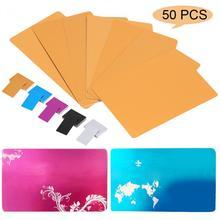 50 шт./лот, заготовки с лазерной гравировкой, металлические гладкие визитные карточки, визитные карточки из алюминиевого сплава