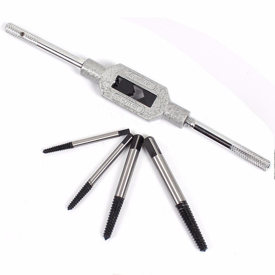 5PCS Cr Mo Screw Extractor Broken Bolt Remover Drill Guide Bits Set With Holder Frame Tools