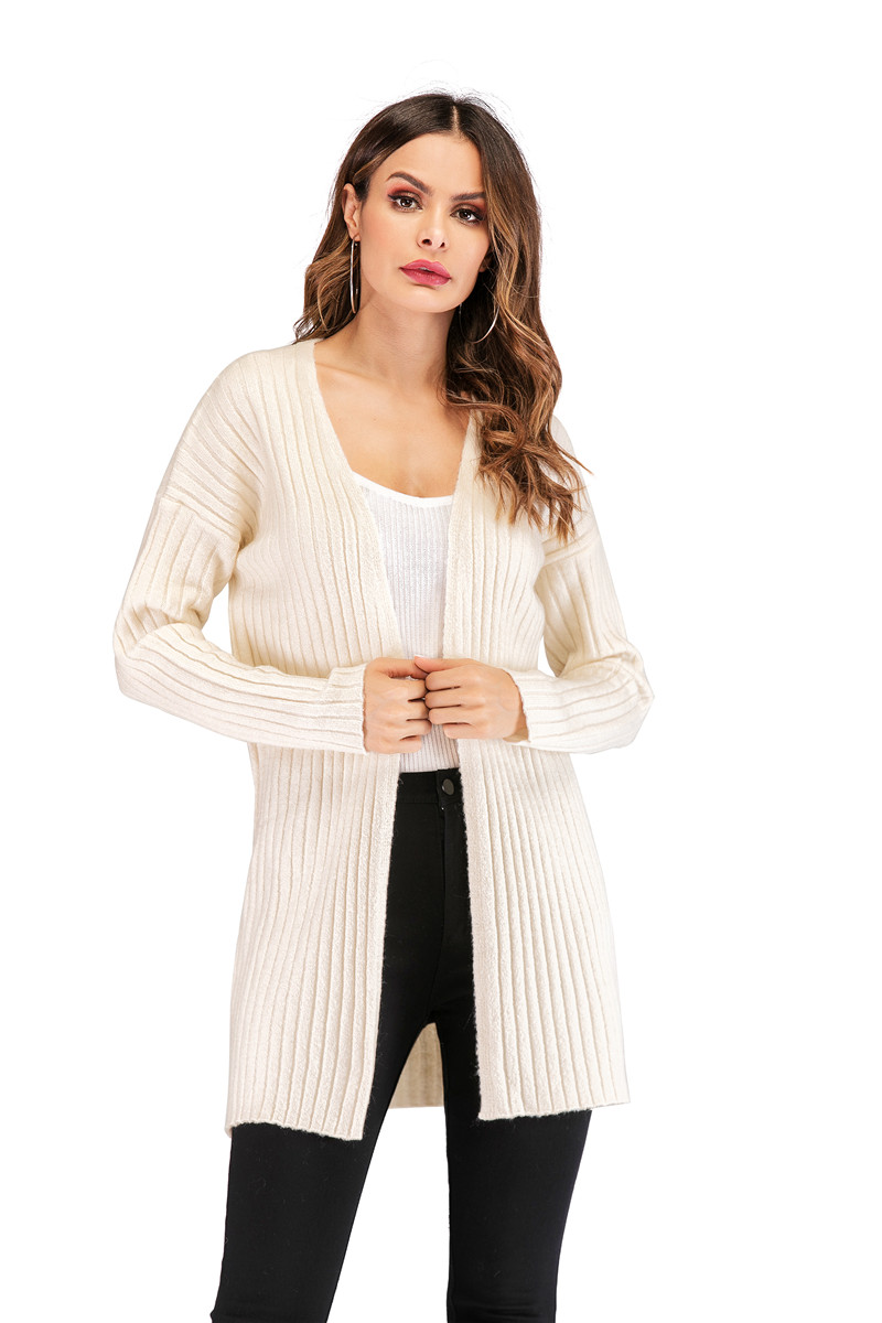 Fall Winter Cute Knitted Middle Long Ribbed Cardigan Dress for Women Kawaii Ladies Knit Drop Shoulder Sweater Coat Oversized S-L 14