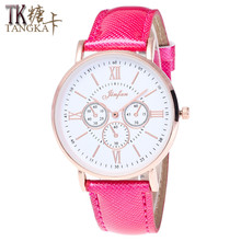 Geneva ladies watch new casual fashion Roman numerals dial High quality leather strap Simple retro woman watch Gift