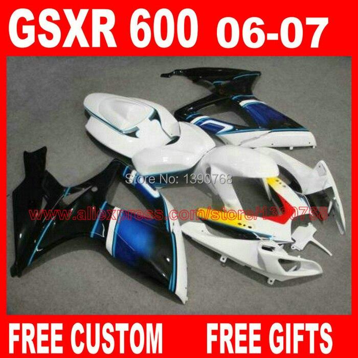 Kostenlose anpassen verkleidung kit für 06 07 SUZUKI GSXR K6 600 750 blau weiß schwarz verkleidungen eingestellt gsx-r600 2006 GSX-R750 2007 HV74