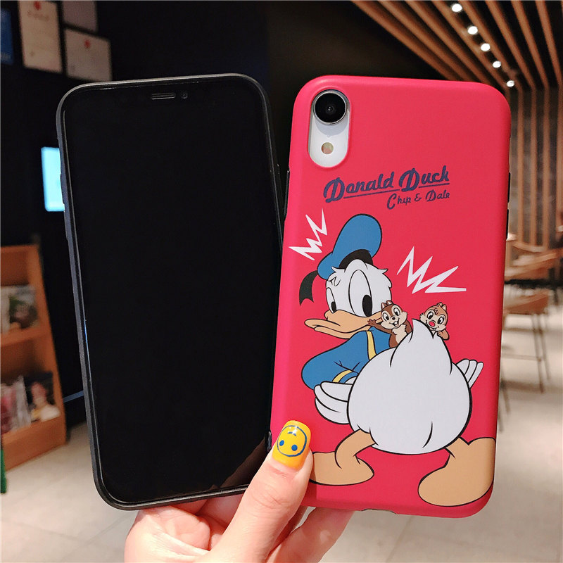 For Couple Donald Duck Chip Dale Case iPhone X XS Case For Coque iPhone XR XS Max 6 6S Plus 7 8 Plus IMD Matte Soft Phone Cases in Fitted Cases from Cellphones Telecommunications