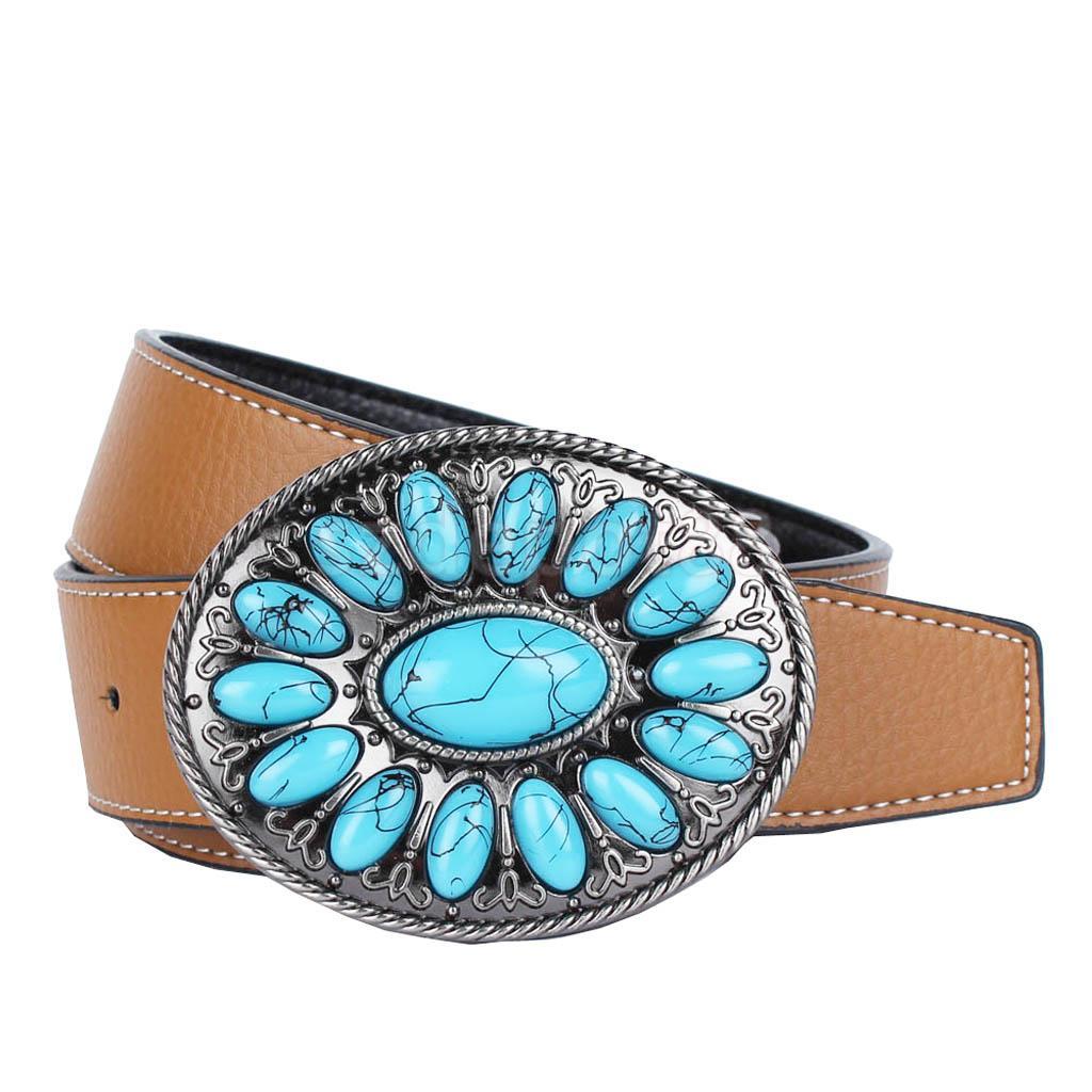 Mens Vintage Bohemia Black Turquoise Leather Western Cowboy Classic Belt Buckles
