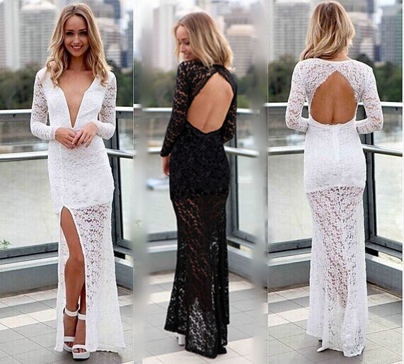 Formal gown vestido de renda new fashion sexy backless v-neck party prom lace long sleeve women free shipping   bridesmaid     dresses