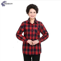 TNLNZHYN Women Middle Age Cotton Shirt 2017 Spring New Fashion Loose Large Size Long Sleeved Casual