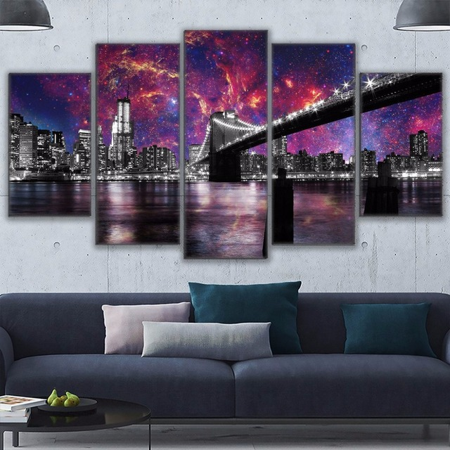 Charming Canvas Art Modern Painting Modular Framework Picture Cuadros Decoration 5  Panel San Francisco At Night Wall