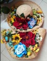 Handmade Beach bag straw pack lafite straw hat set flowers retro Chinese wind shade vacation
