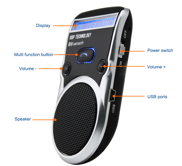 Free Shipping Solar Powered Bluetooth Car Kit LCD Display Caller ID Hands Free Bluetooth Speaker in Car Handsfree Calling