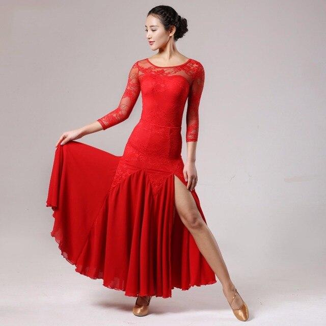 886a40ab1 € 68.67  2017 trajes de baile de salón de unids baile para mujer 2 piezas  (leotardo + falda) vestido de baile de Jazz estándar de chifón en ...