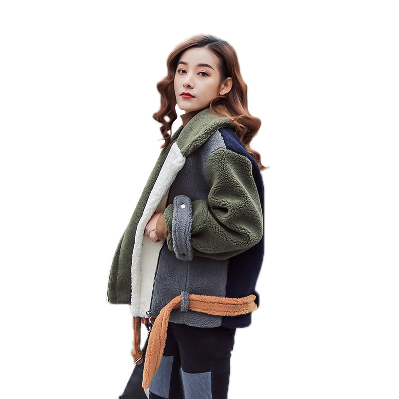 Fashion Patchwork Lambswool Turn-down Collar Warm Loose Women Coat Military Outerwear Ca ...