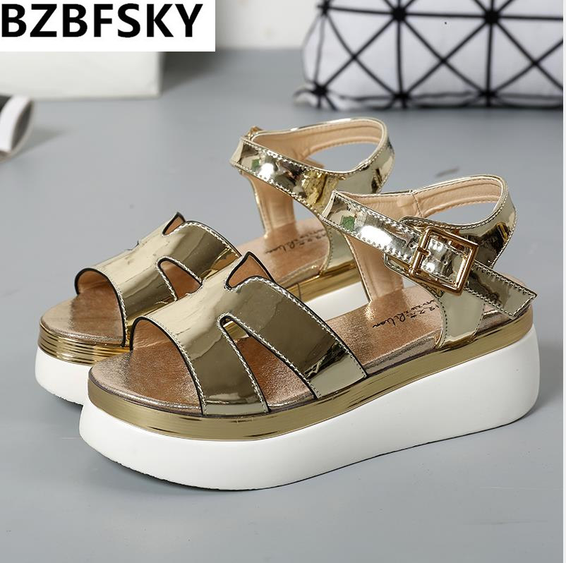 Women Shoes Summer Women Sandals 2017 Peep-toe Gold Silver Roman Sandals Shoes Platform Brand Creepers Woman Sandalias Size 43 phyanic 2017 gladiator sandals gold silver shoes woman summer platform wedges glitters creepers casual women shoes phy3323