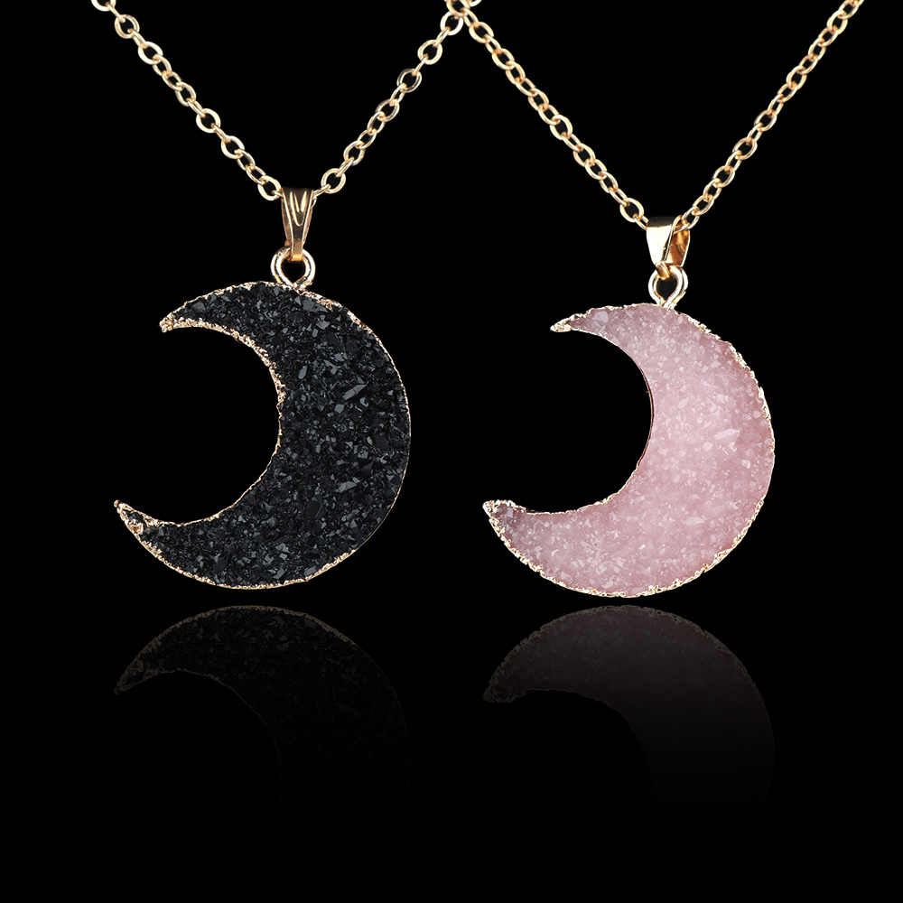 Resin Stone Moon Shape Pendant Necklace Women Crescent Women Neck Decor Jewelry Accessories Mujer Joyas Chain Necklace