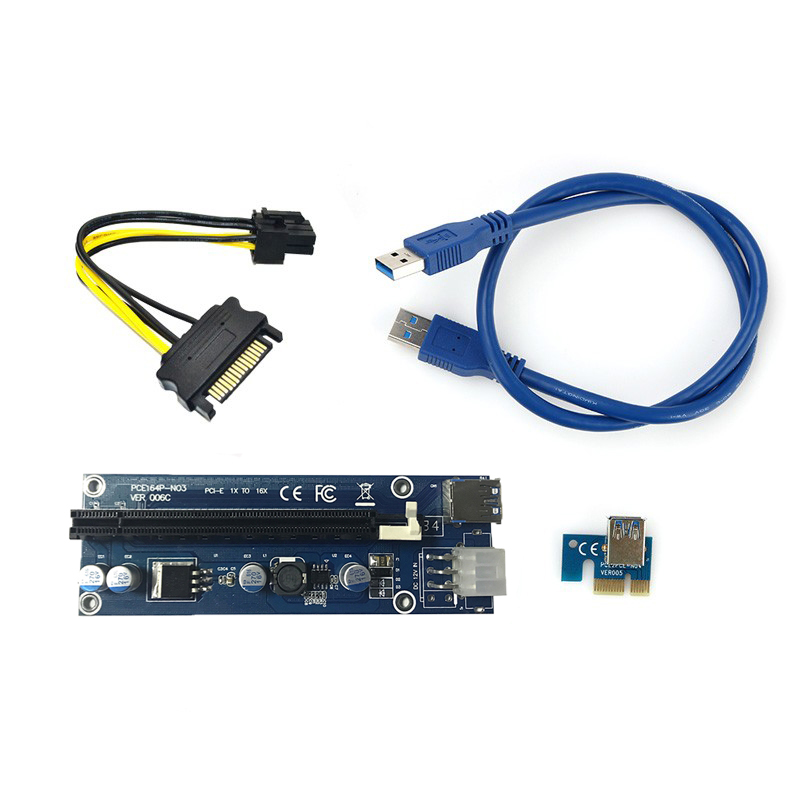 PCI-E Pci e Expresso de 1X a 16X Cartão Riser + USB 3.0 Cabo extensor Cabo de Alimentação SATA 15 Pin-6Pin 60 CM para bitcoin mining