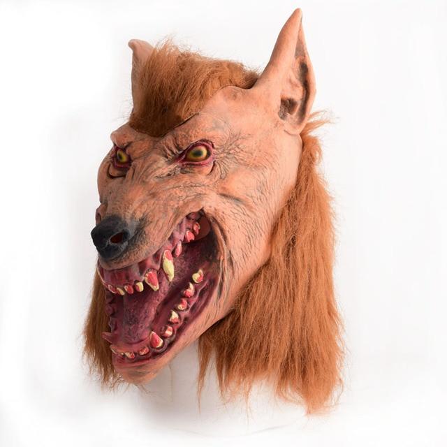 Marrom lobo Adulto Assustador do dia das bruxas cabeça de látex de Borracha Máscara Traje Prop Novidade nu knock off