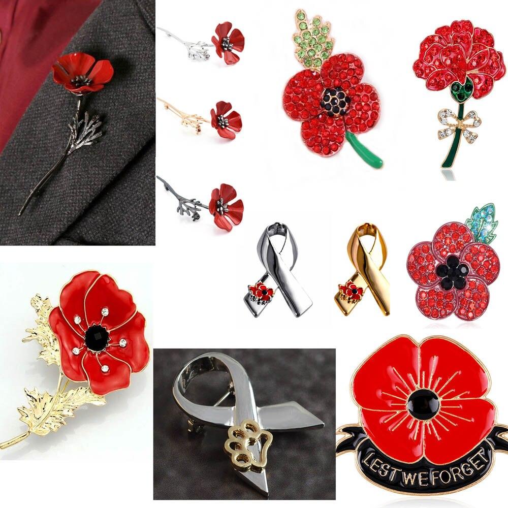 Women Men Enamel Remembrance Brooch Red Poppy Flower Lapel Pin