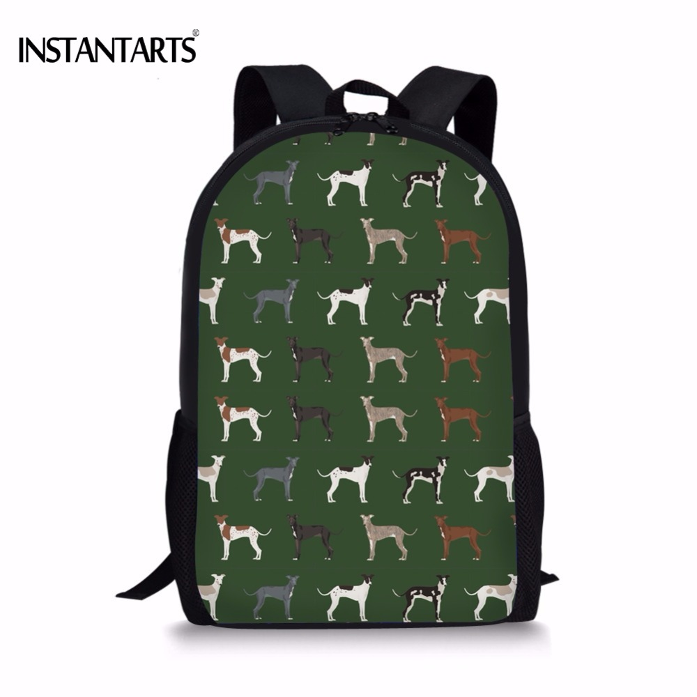INSTANTARTS Cute Dog Greyhound Print Kids Backpacks for Boys Girls Primary School Students Schoolbags Children Lap Top Rucksacks