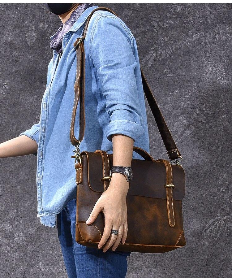 Brown Leather Handbag Vintage straps