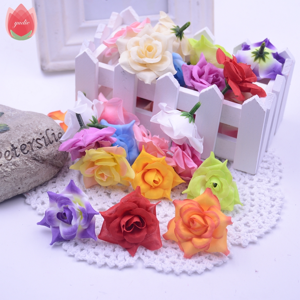 Cheap 50pcs silk artificial blooming rose flower head for wedding cheap 50pcs silk artificial blooming rose flower head for wedding home decoration diy scrapbooking accessories rosa fake flowers in artificial dried izmirmasajfo Image collections