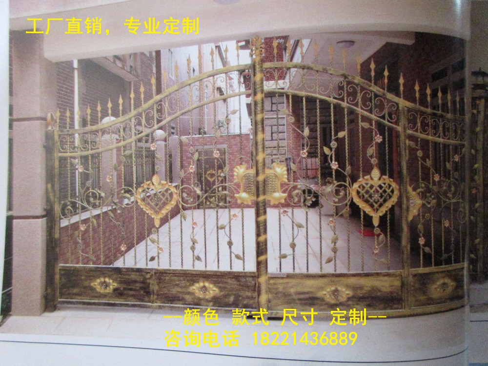 Custom Made Wrought Iron Gates Designs Whole Sale Wrought Iron Gates Metal Gates Steel Gates Hc-g42