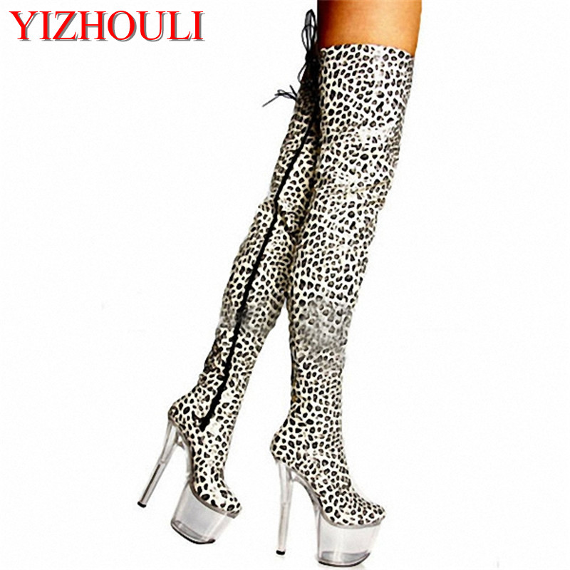 20cm Super high heels wild sexy leopard ultra-high with knee-high boots nightclub sexy pole dancing boots20cm Super high heels wild sexy leopard ultra-high with knee-high boots nightclub sexy pole dancing boots