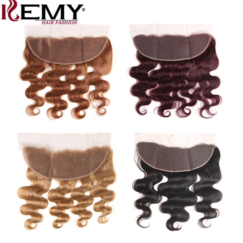 Brown Color Ear To Ear Lace Frontal With Baby Hair KEMY HAIR Brazilian Body Wave Lace Frontal Closure 13*4 Non-Remy Human Hair
