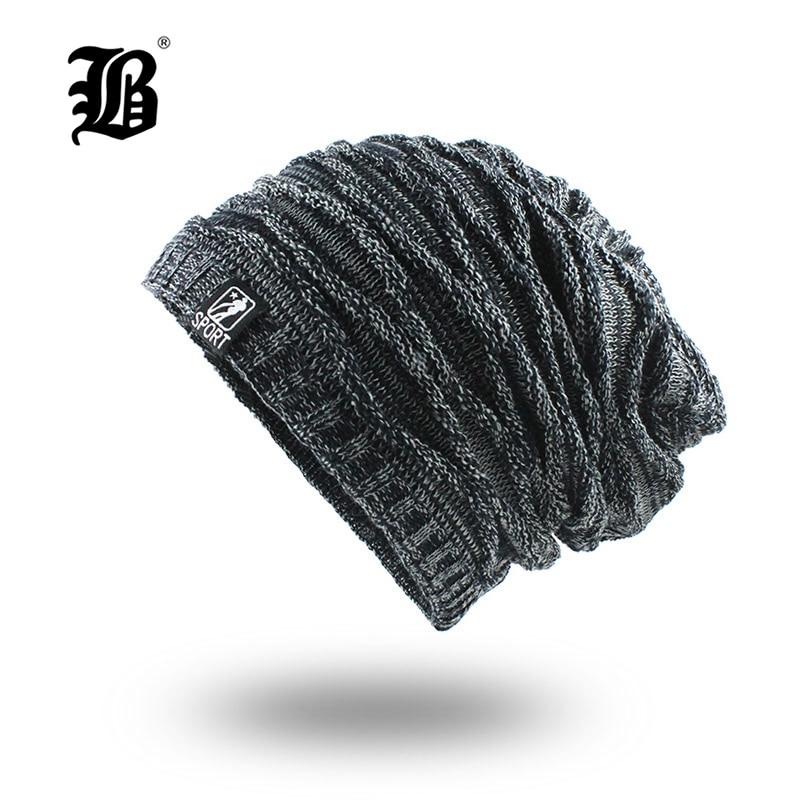 [FLB] Winter Knitted Beanie Hat For Man Double Layer Warm Kniting Bonnet Caps Male Thick Add Velvet Skullies Beanies Men F18068
