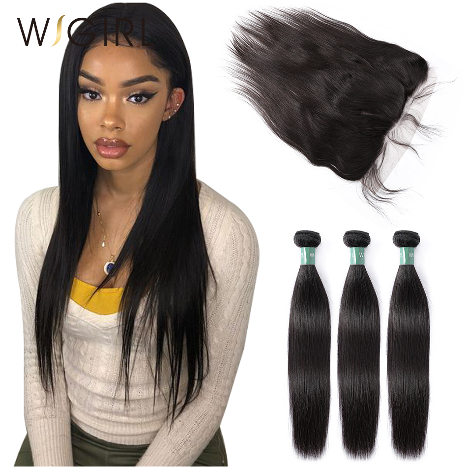 Wigirl Brazilian Hair Weave Bundles With 13 6 Lace Frontal Closure Raw Virgin Natural Straight 100