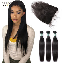 Wigirl Brazilian Hair Weave Bundles With 13*6 Lace Frontal Closure Raw Virgin Natural Straight 100% Human Hair Extension Weaves(China)