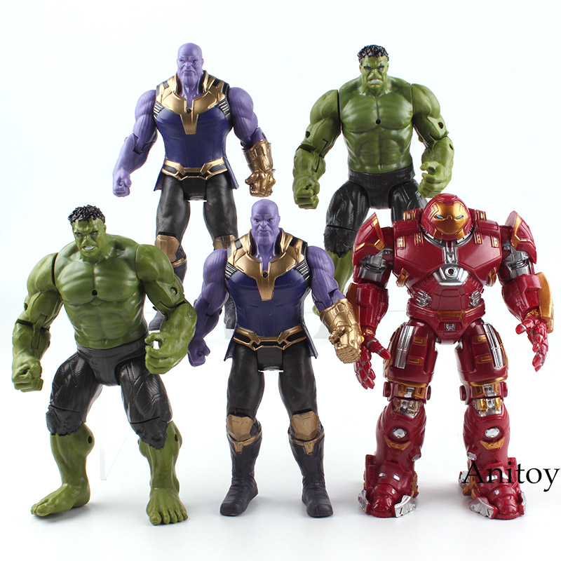 Marvel The Avengers Figure Super Heroes Iron Man Hulk Thanos Flashing Light in Chest PVC Action Figures Toys Gift for Boy 17cm