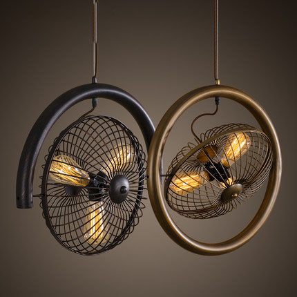 Retro Electric Fan Style Pendant Ligh. Black / Brown Rural Industrial Wind Turbine Perso ...