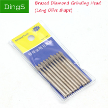 5pcs 3mm Shank Brazed Diamond Grinding Head Long Olive Shape Burrs Carving Peeling Bits For Metal Jade  Glass Stone Ceramic Mill