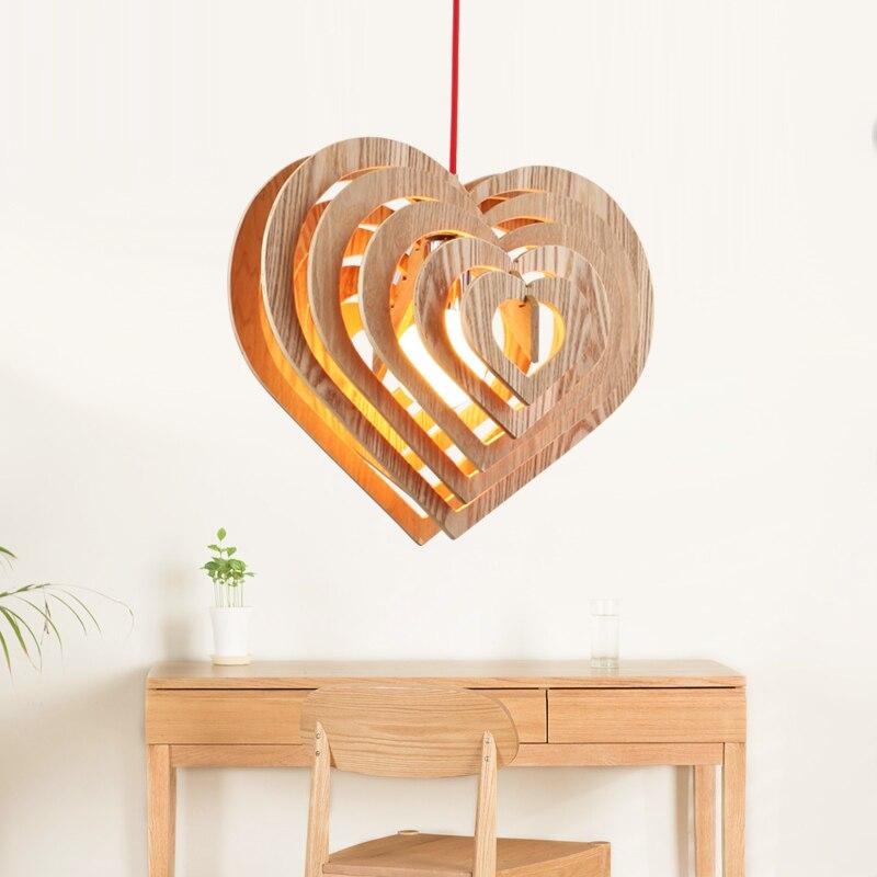 Moderne simple en forme de coeur en bois art pendentif lumières moderne salon chambre LED droplight café bar décoration éclairage - 5