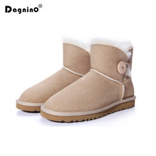 DAGNINO Brand Autumn Winter Real Sheepskin Wool Ankle Shoes Women Waterproof Platform Natural Fur Buttons Snow Boots Warm Woman(China)