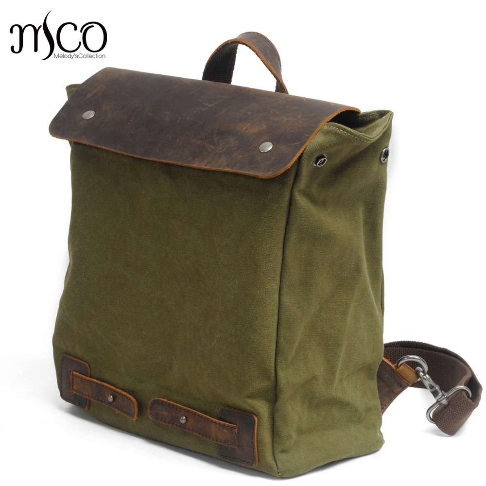 Men's Leather Canvas Backpack Youth Large Capacity Vintage Military Backpack Travel Bags Fashion Casual Women Laptop School Bags men s leather canvas backpack youth large capacity vintage military backpack travel bags fashion casual women laptop school bags