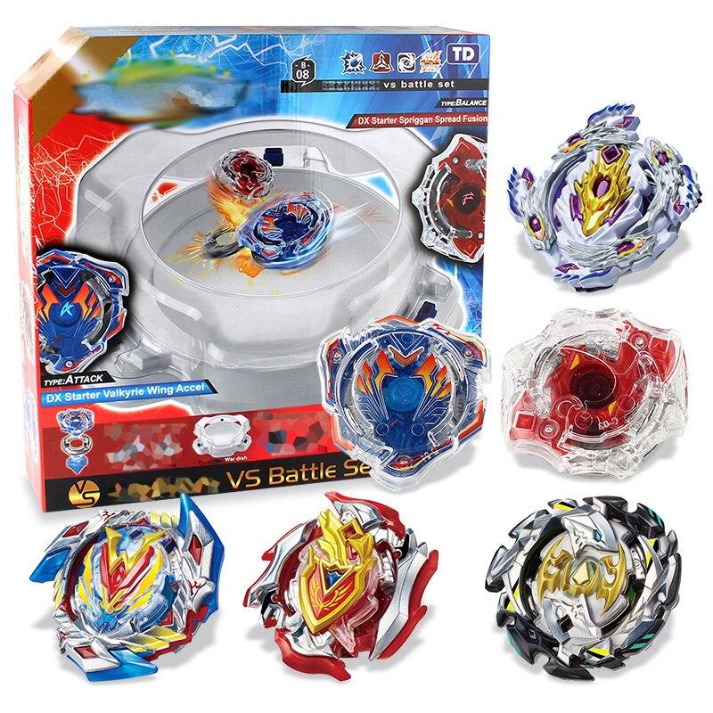 Peonza Beyblade explosión 6 Bayblades + 2 lanzadores + 2 asas + 1 de plástico de Arena de fusión metálica 4D con la caja de juguetes para los Niños # H
