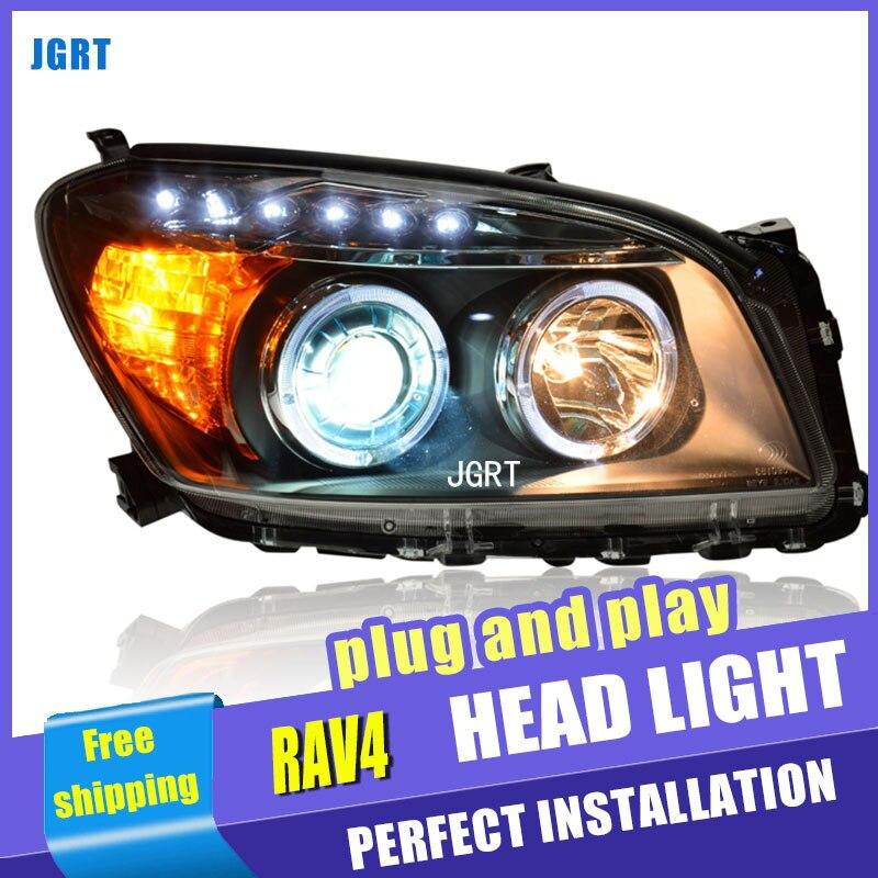 цена на car styling For Toyota RAV4 headlights U angel eyes DRL 2009-2012 For Toyota RAV4 LED light bar DRL Q5 bi xenon lens h7 xenon