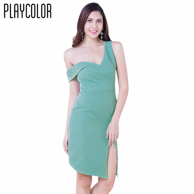 Us 99 Playcolor Green Short Tail Dresses One Shoulder Party Club Dress Custom Made Plug Size Women Pd1706m05 In