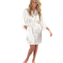 Женский Шелковый Атласный Короткий Ночной халат, однотонное кимоно, халат, модный банный халат, сексуальный халат, пеньюар, женский халат для свадьбы, невесты, подружки невесты