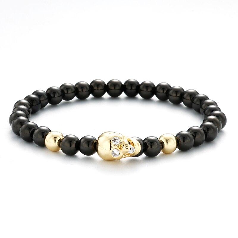 6mm Stainless Steel Beads Bracelet Men Gold-color Pave Setting CZ Skull Bracelets Charm Buddha Bracelet & Bangle Men Jewelry