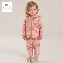 DB4082 dave bella autumn baby girl flower printed clothing set  kid fashion sports clothing set