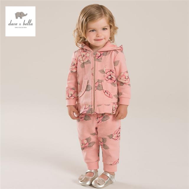 DB4082 dave bella otoño bebé niña de las flores impreso ropa del cabrito de la manera ropa de deporte set