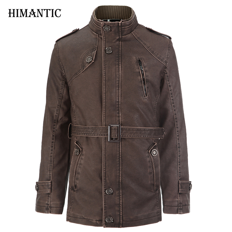 Leather Jacket Men Long Wool Stand Collar Coat jaqueta de couro Mens PU Leather Motocycle Jackets Overcoat Jackets Parka