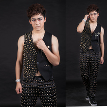 XS-5XL Big yards men's clothing ! 2017  Nightclub bar male singer ds costumes Golden rivet suit small vest The singer's clothing