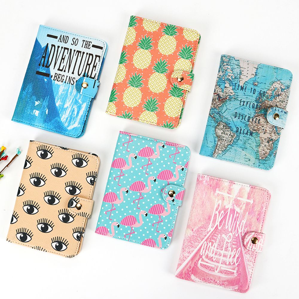 Flamingo Map Passport Covers Travel Accessories Creative PU Leather ID Bank Card Bag Men Women Business Holder