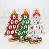Kerstcadeau 1 st mini tafel bomen Decoratie houten kerstboom met ornament DIY kerstboom Gratis verzending
