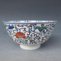 중국 오래 된 다채로운 도자기 손으로 그린 연꽃 그릇 청나라 qianlong 마크