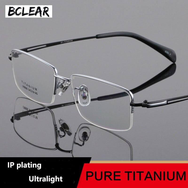 BCLEAR Super léger titane lunettes de Prescription cadre optique lunettes cadres hommes classique demi-cadre haute qualité lunettes