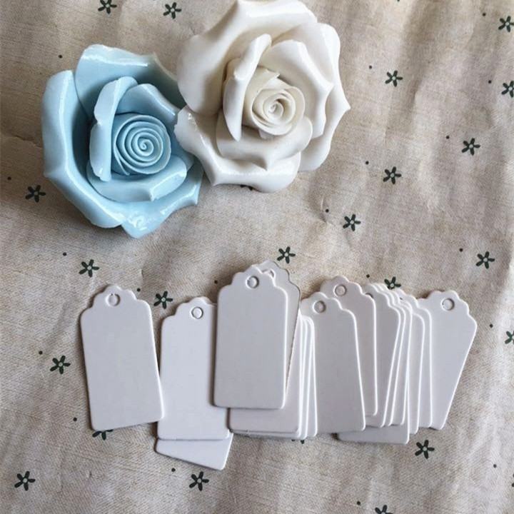 100pcs Paper Gift Tags Card White Scallop Festival Wedding Decoration Blank Mini Luggage Label 2*4cm
